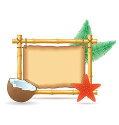 Bamboo frame and coconut 02 vector