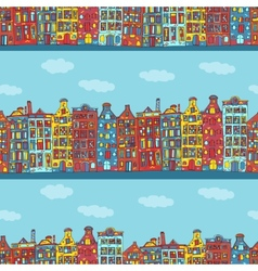 Seamless amsterdam holland background vector