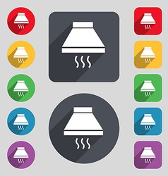 Kitchen hood icon sign a set of 12 colored buttons vector