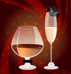 Cognac and champagne vector