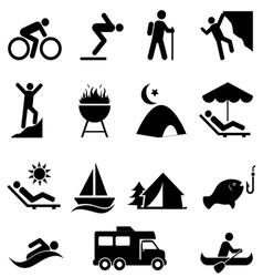 Leisure and outdoor recreation icons vector