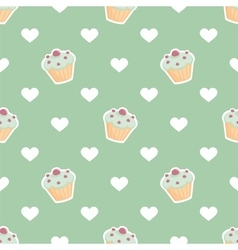 Tile pattern with cupcake and hearts on mint green vector