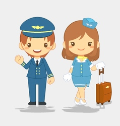 Cute pilot and stewardess vector