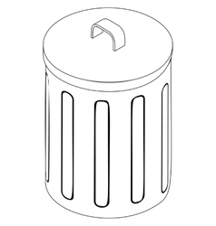 Trash bin icon isometric 3d style vector