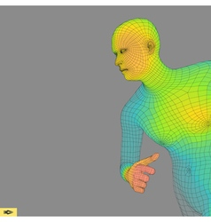 Running man polygonal design 3d grid human body vector