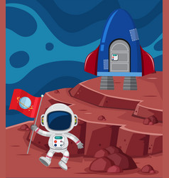 Astronaut and rocketship on planet vector