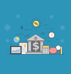 banking and business on winter background vector image vector image