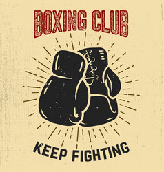 boxing club keep fighting hand drawn boxing vector image vector image