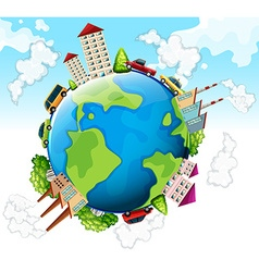Buildings and cars on earth vector