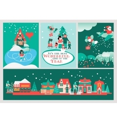 Christmas cards set the most wonderful time vector
