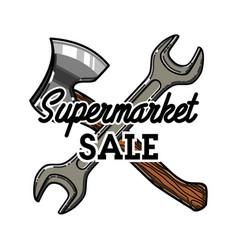 Color vintage supermarket sale emblem vector