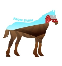 Concept of horse silhouette with text on farm vector image