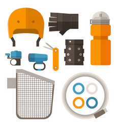 Cycling accessories set vector