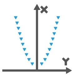 Dotted parabola plot flat symbol vector