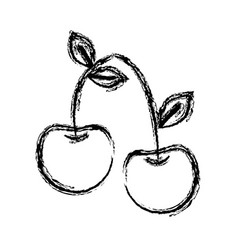 Figure delicious cherry healthy fruit vector