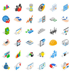 Finance icons set isometric style vector