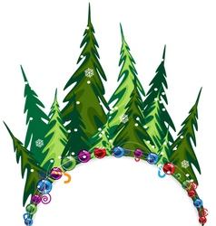 Fir forest with Christmas decorations vector image