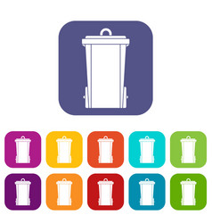 Garbage bin icons set flat vector