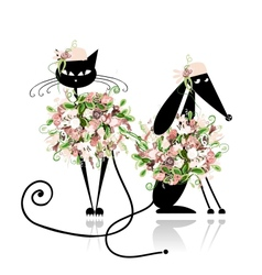 Glamor cat and dog in floral clothes for your vector