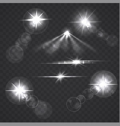 Glowing light effect stars and flashes vector