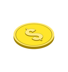 gold coin symbol flat isometric icon or logo 3d vector image vector image