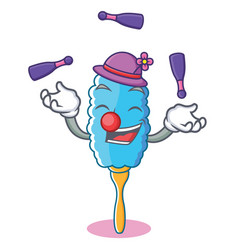 Juggling feather duster character cartoon vector