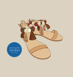 Leather greek sandals with pom pom - summer access vector