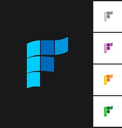 Letter F logo template with variations vector image vector image