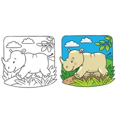 Little rhino coloring book vector