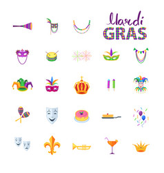 mardi gras set of carnival decorative elements vector image