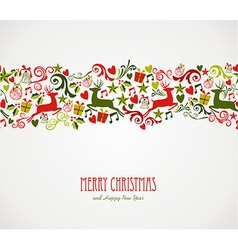 Merry Christmas decorations elements border vector image vector image