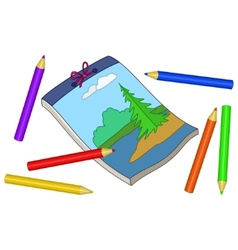 pencils and notebook vector image