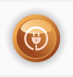plug icon on orange round button vector image