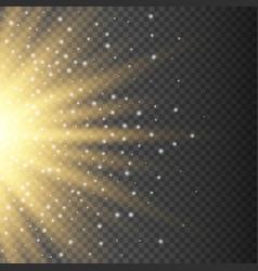Realistic transparent yellow sun rays warm orange vector