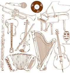 Set of isolated sketch musical instruments vector