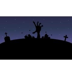 Silhouette of hand zombie Halloween vector image vector image