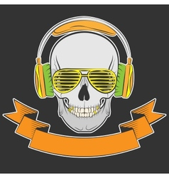 skull with headphones and sunglasses vector image