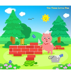 The three little pigs 7 the bricks house vector