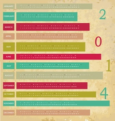 Vintage Calendar for 2014 year vector image vector image