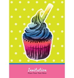 Vintage cupcake invitation water colour on green vector image