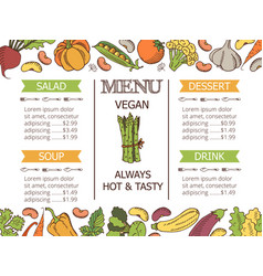 vintage vegetarian menu vector image