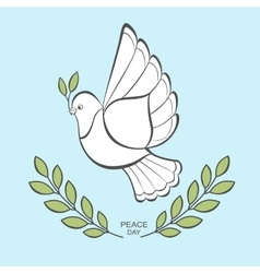 White dove with an olive branch vector