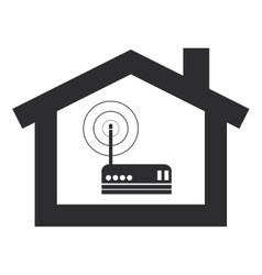 Wi-fi router inside house modem icon vector