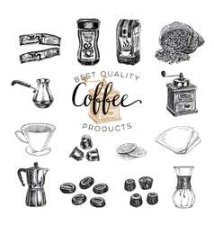 Hand drawn coffee set sketch vector