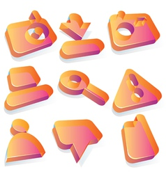 Media translucent acrylic icons vector