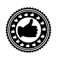 hand monochrome with gesture ok stamp vector image