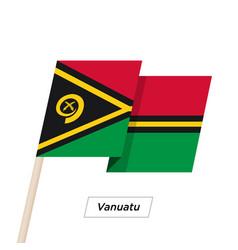 Vanuatu ribbon waving flag isolated on white vector