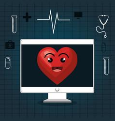 Cardiology digital healthcare medical isolated vector