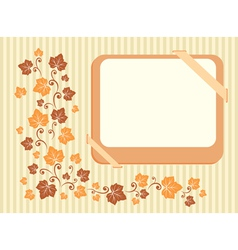 Retro frame with autumn leaves vector