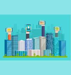 Smart city with skyscrapers and hands vector